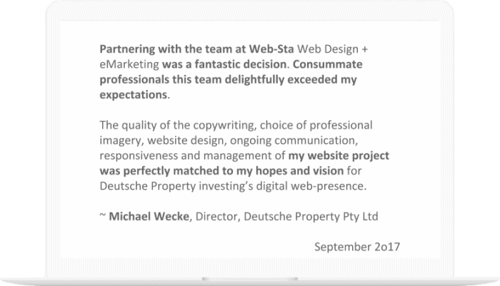 Web-Sta screen shot of Deutsche Property Testimonial