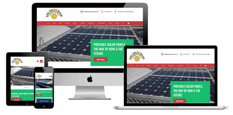 Ecommerce Website Design for Solar 2 Camp based in Woodford