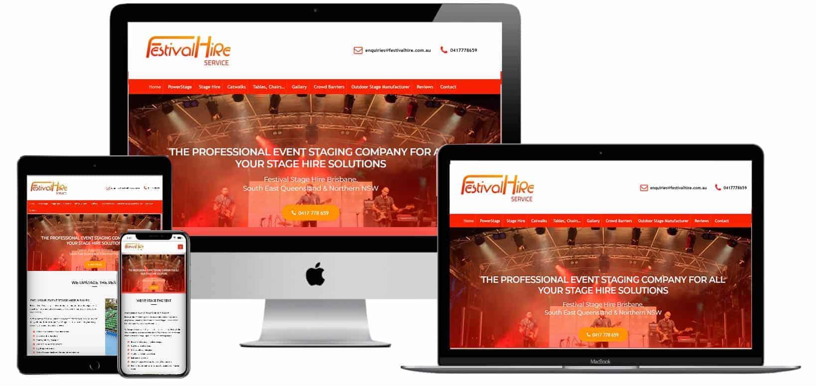 Party hire pro web design