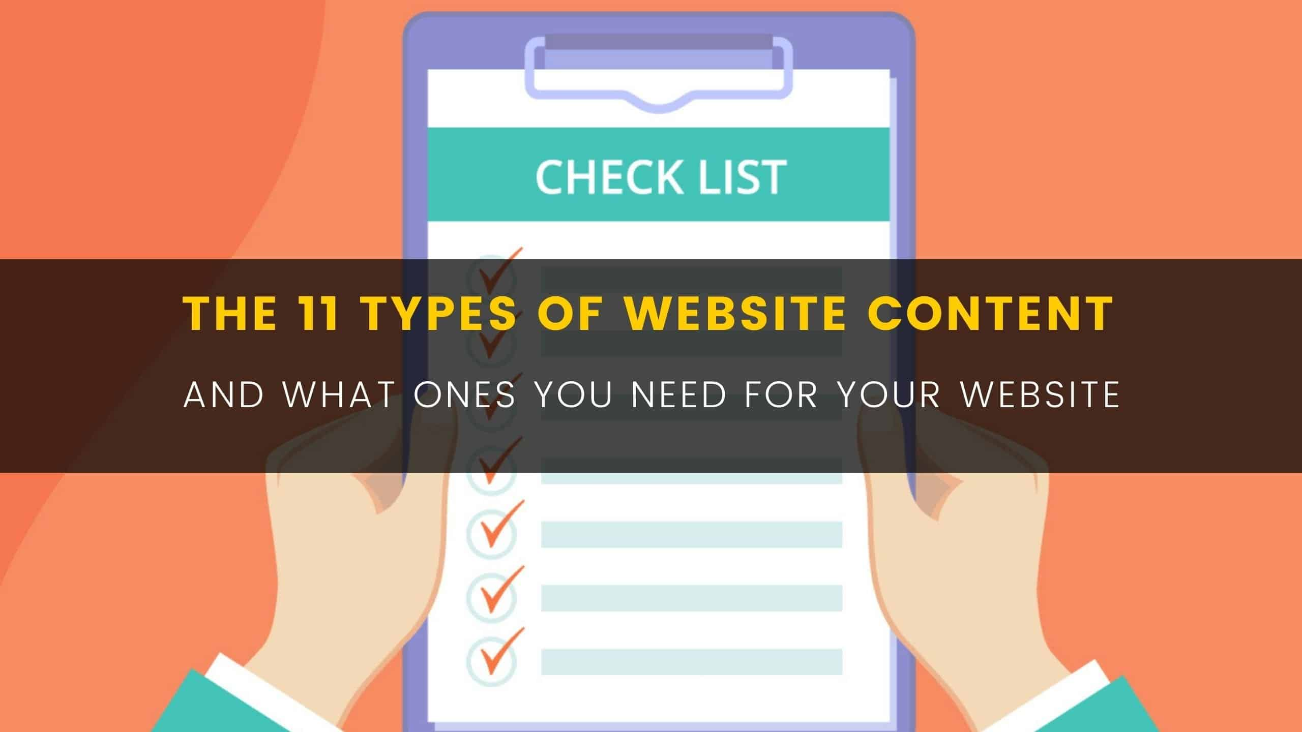 Blog The 11 types of website content And WHAT ONES YOU NEED FOR YOUR WEBSITE