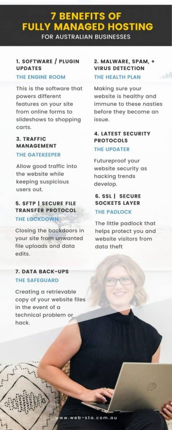Infographic for 7 Benefits of Fully Managed Australian Website Hosting